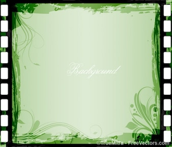 Green floral frame background