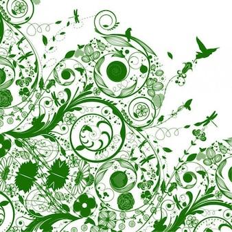 Green floral swirls vintage vector