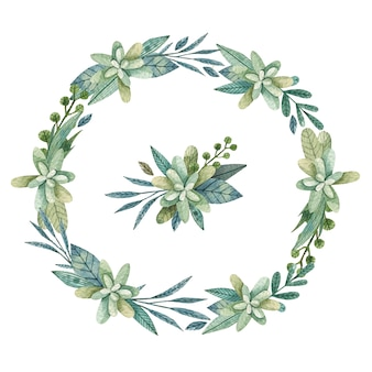 Green floral wreath background