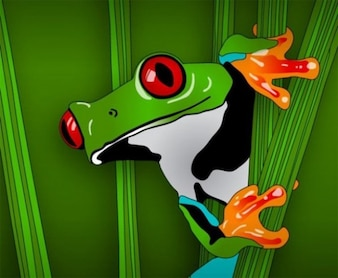 Green frog in the grass vector graphic
