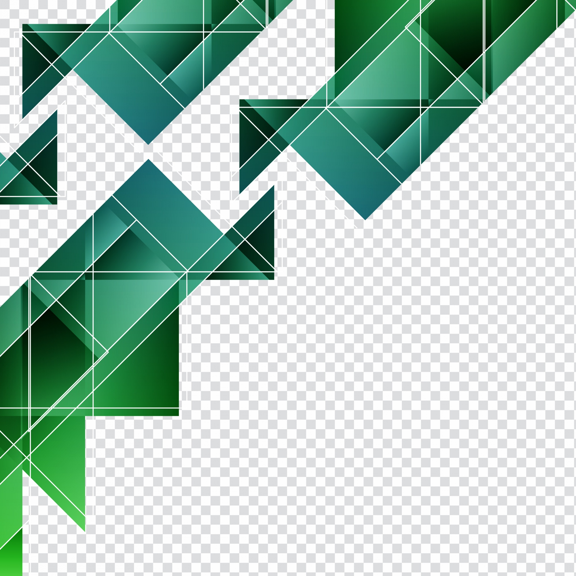 Green geometric shapes for backgrounds