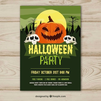 Green halloween party poster with pumpkin and skulls