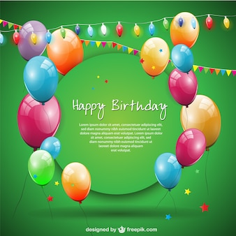 Green happy birthday card with balloons and garlands