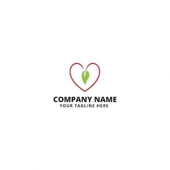Green heart logo template