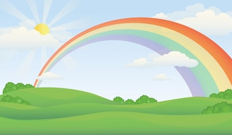 Green Hill Illustration with Sunlight and Rainbow Across the Sky