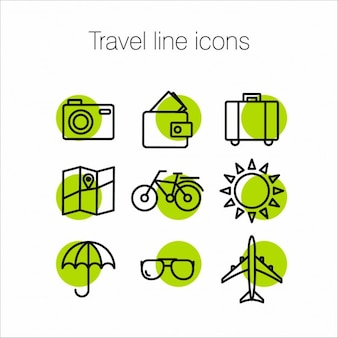 Green icons about travel