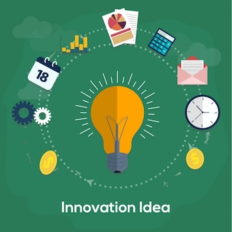 Green innovation background with light bulb