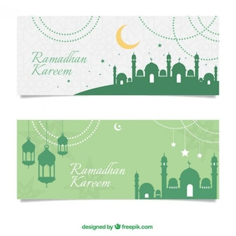Green lamps and mosques silhouettes banners