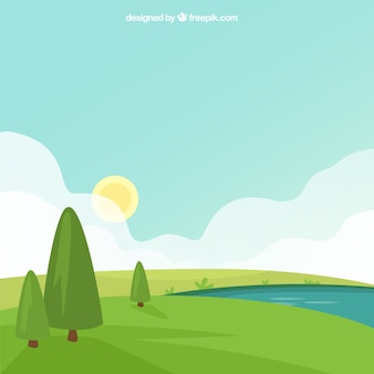 Green landscape background with trees and river