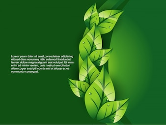 Green leaf background with space for text