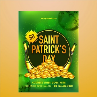 Green leaflet with coins and bottles for st patrick's day