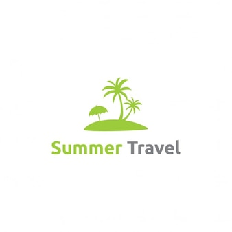 Green logo with an island