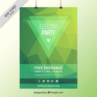 Green low poly party poster
