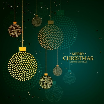 Green luxury background with christmas balls