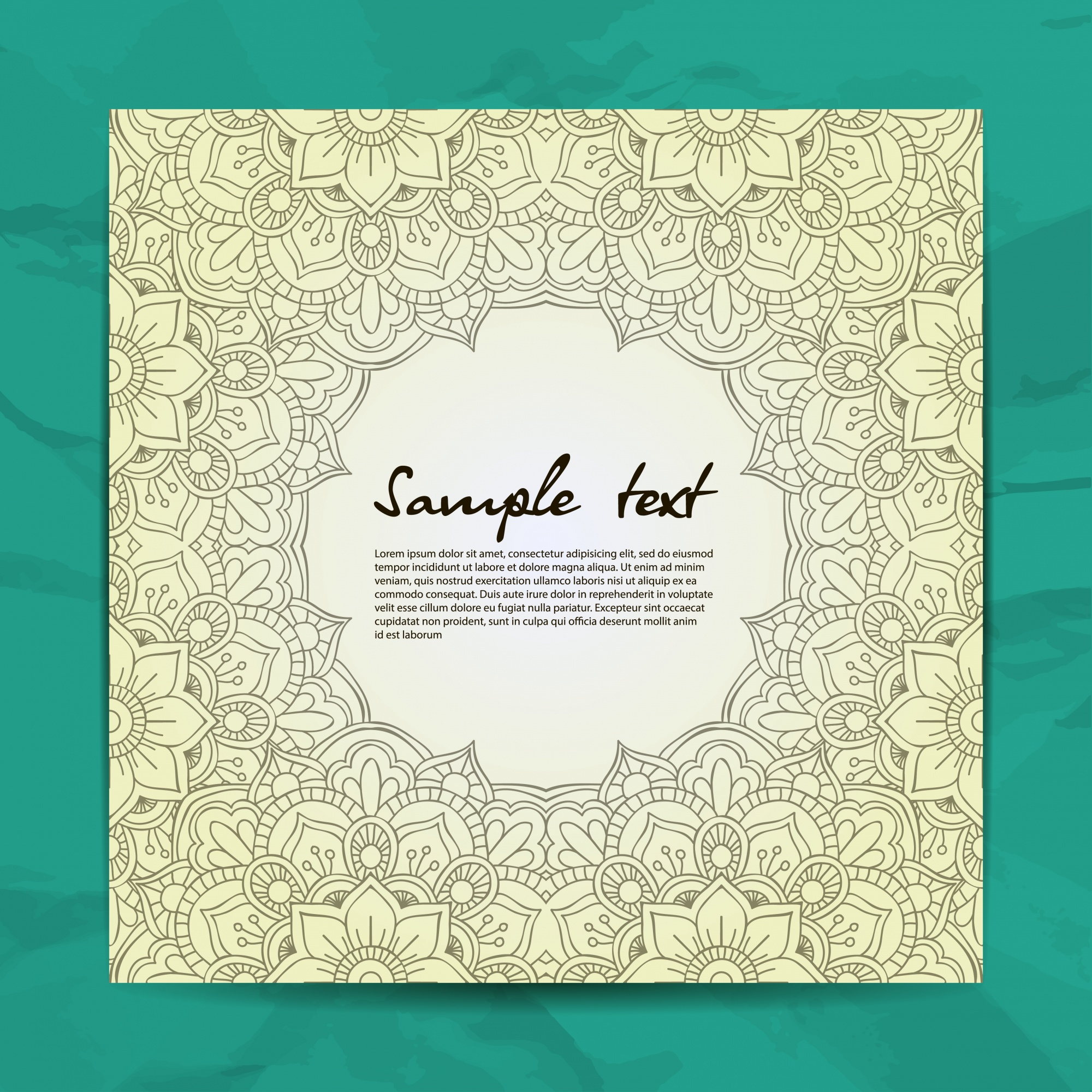 Green mandala design with text template