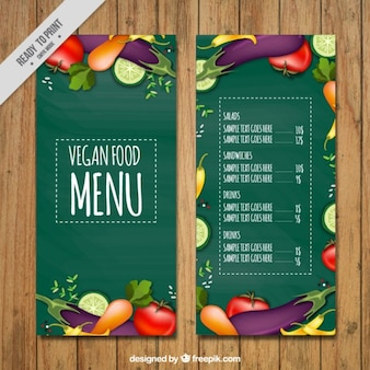 Green menu of vegan food