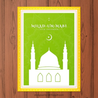 Green Milad-un-Nabi card with a mosque