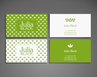 Green modern business card with floral design