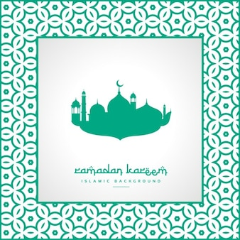 Green mosque silhouette background
