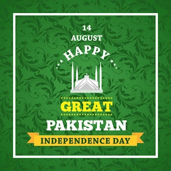 Green ornamental background of pakistan day
