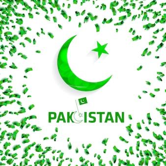 Green pakistan confetti background