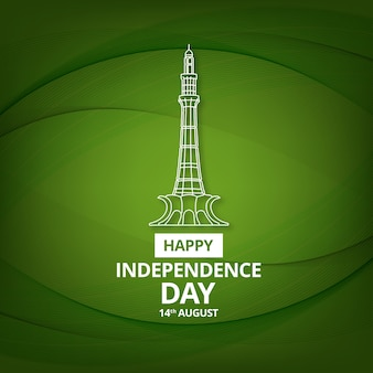 Green pakistan independence day design with minar-e-pakistan