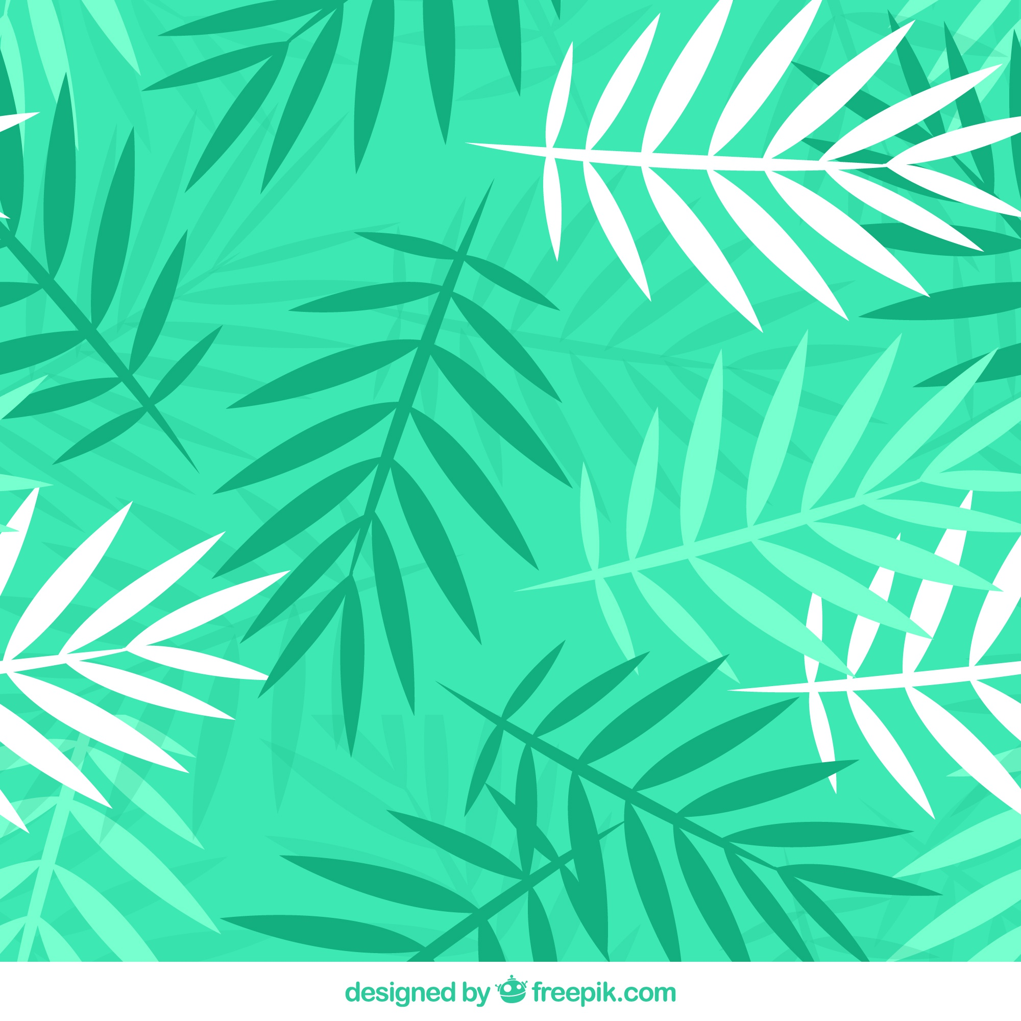 Green pattern with palm leaves in flat design