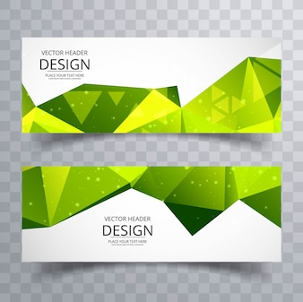 Green polygon banners
