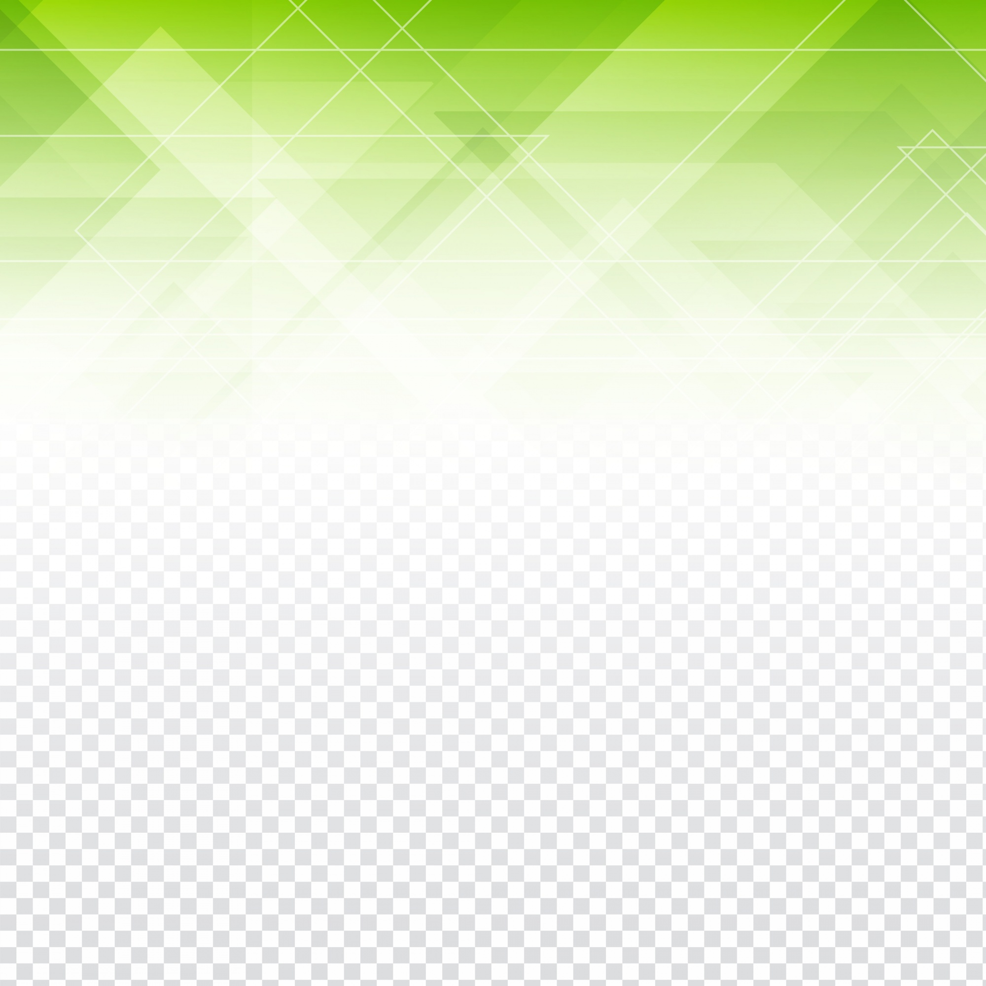 Green polygonal abstract shapes with a transparent background
