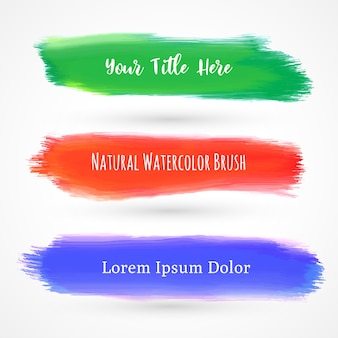 Green, red and blue watercolor brushes