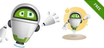 Green robot flying vector illustration