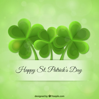 Green Saint Patrick Day Clovers Background