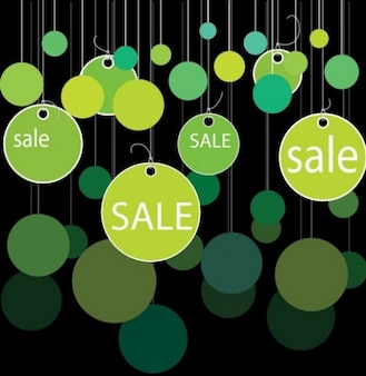 Green sale circular tags background