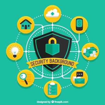 Green security background with yellow circles and flat items