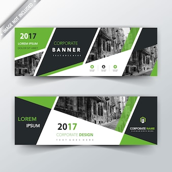 Green shape corporate header