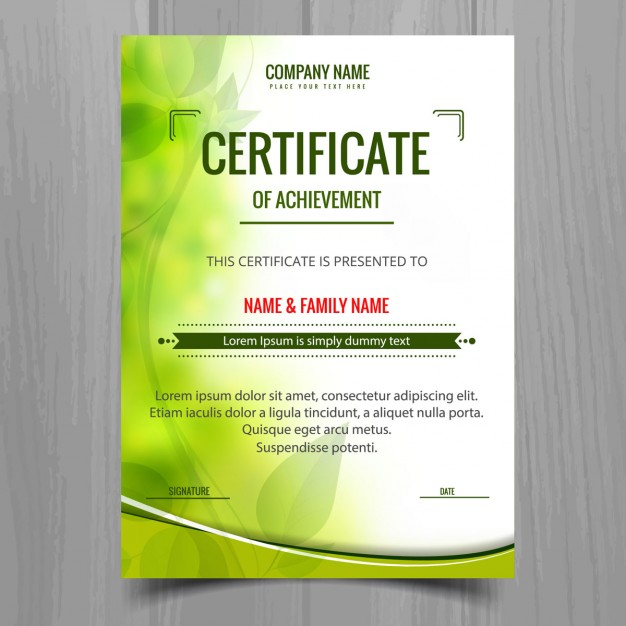 Green shiny certificate template
