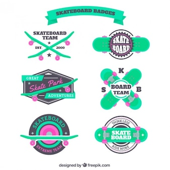 Green skateboard badges