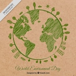Green sketched planet earth background