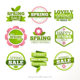 Green spring labels of sales