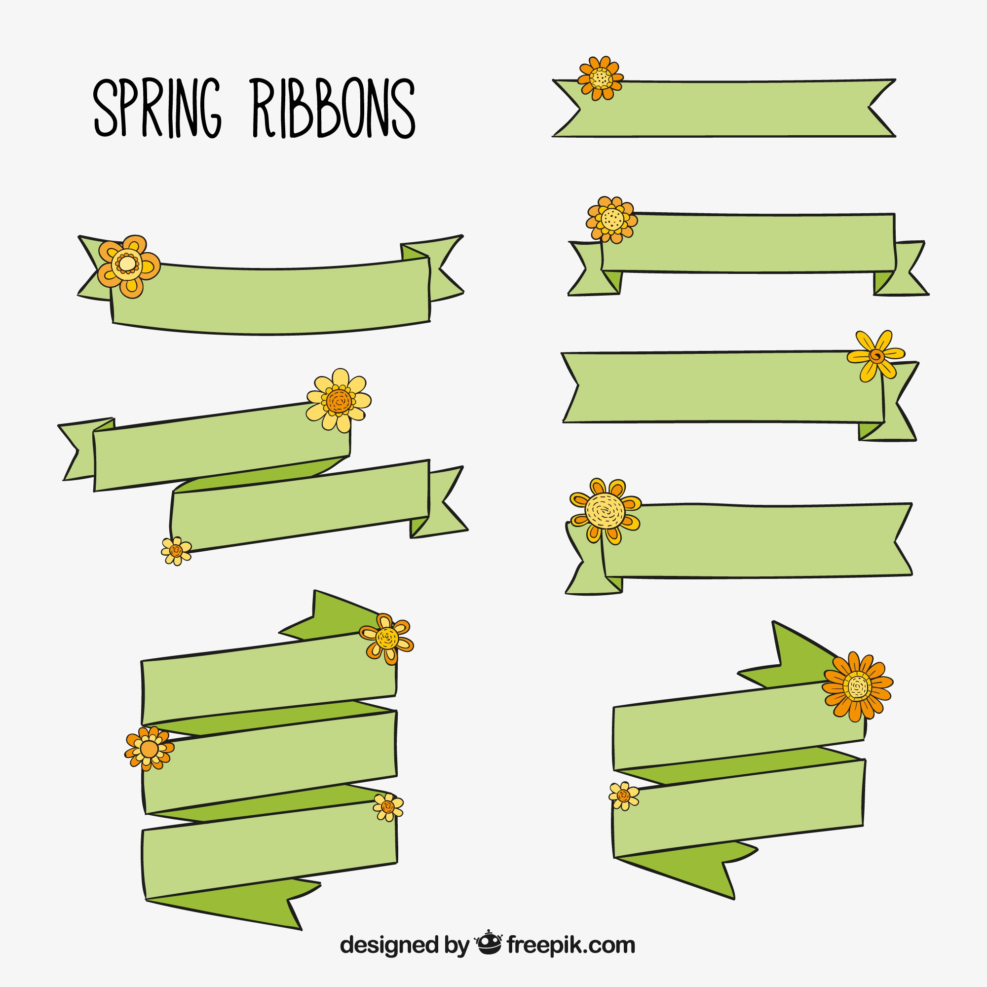 Green spring ribbons with hand-drawn flowers