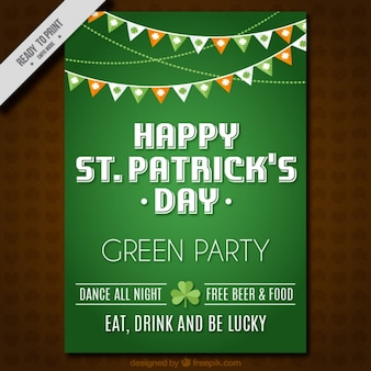 Green st patrick's day brochure with decorative garlands