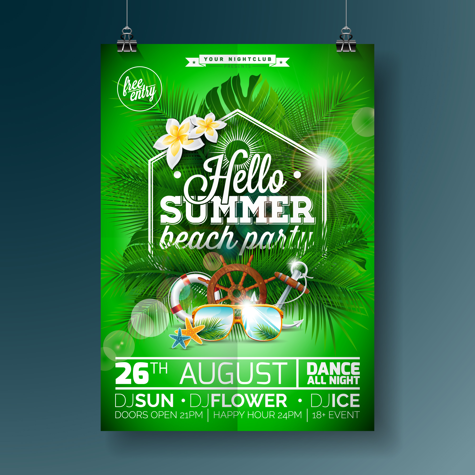 Green summer party poster