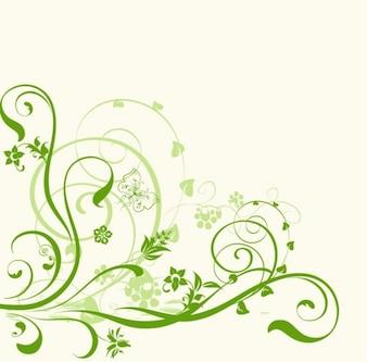 Green swirls ornament on white background