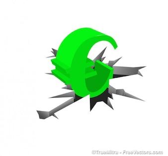 зеленого символа евро