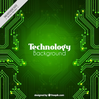 Green technological background with circuits