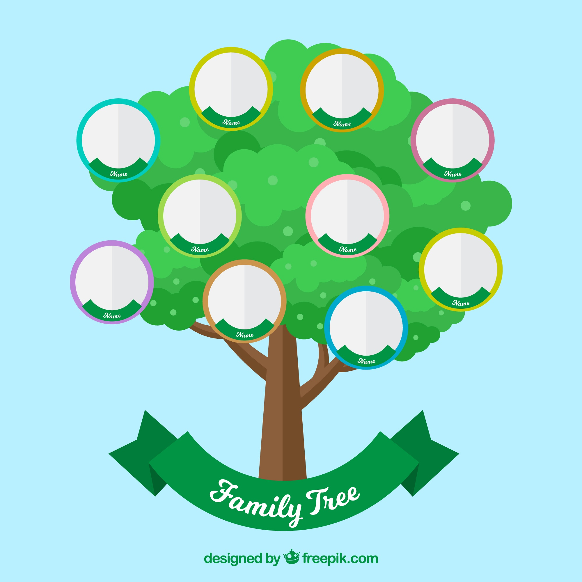 Green tree with circles for family members