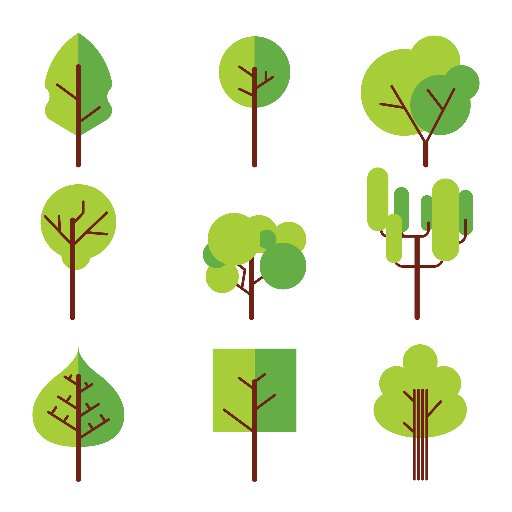Green trees collection