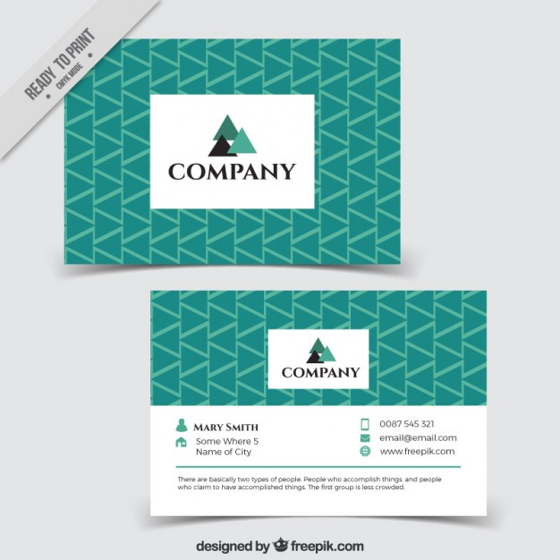 Green triangles business card