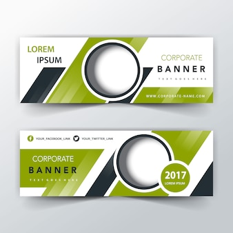 Green two sided banner header