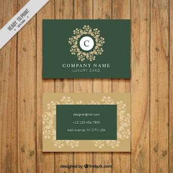 Green vintage business card